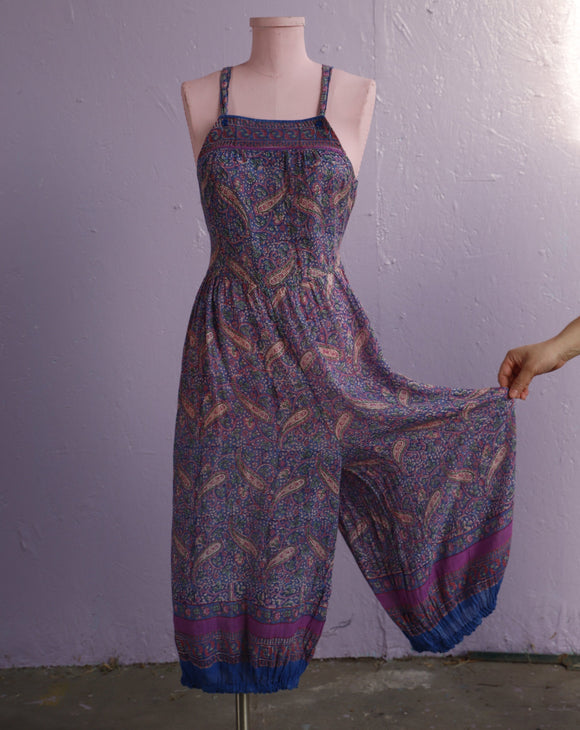 Purple & Pink soft sheer Indian gauze cotton jumpsuit with criss cross back