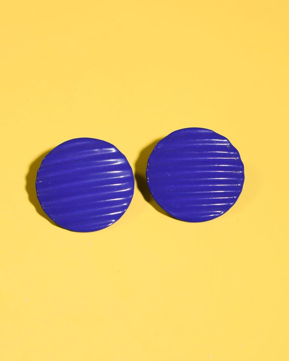 1980's blue round ribbed metal circle pierced earrings