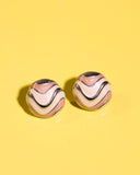 1980's peach and tan enamel small button pierced earrings