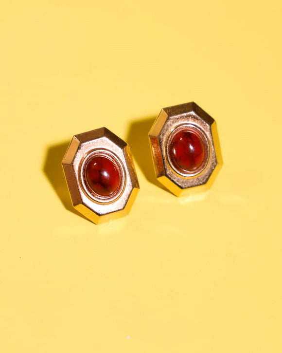 1980's gold and burgundy pierced earrings