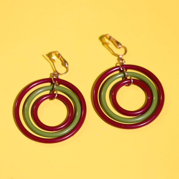 1960's olive and burgundy large clip on hoop earrings