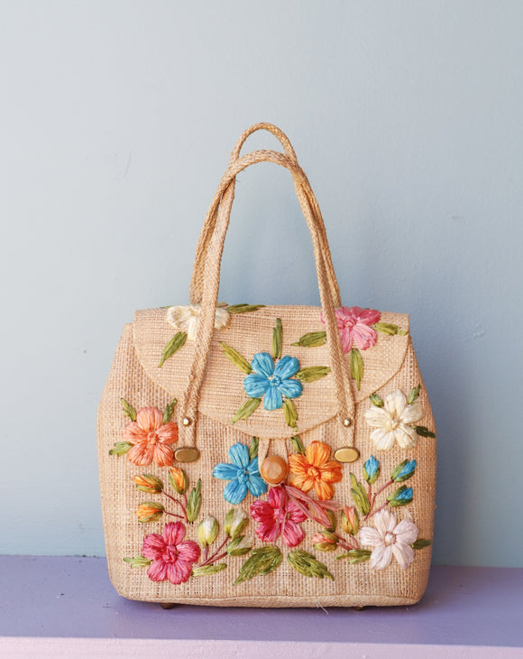 1960's Cottage Originals woven straw purse with flowers