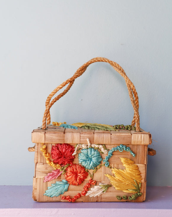 1960's straw and raffia floral box bag