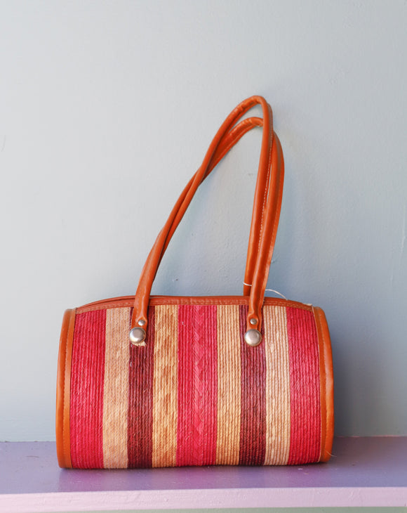 Mexican Fuchsia Straw Cylinder Bag