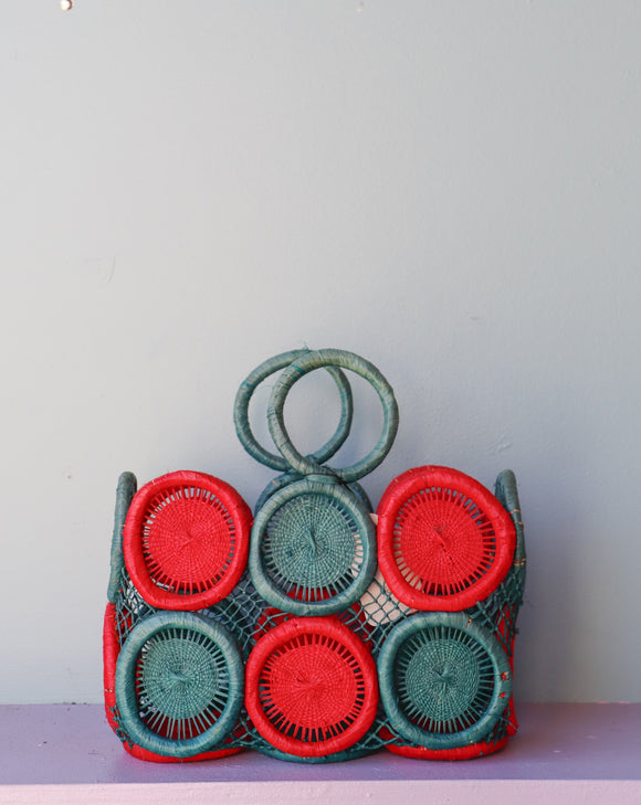 Amazing Mod crochet medallion straw handbag