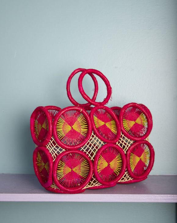 Amazing Mod Hot Pink &  Lime green crochet medallion straw handbag