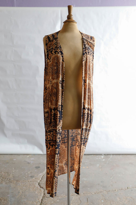 1990's black & tan bohemian duster