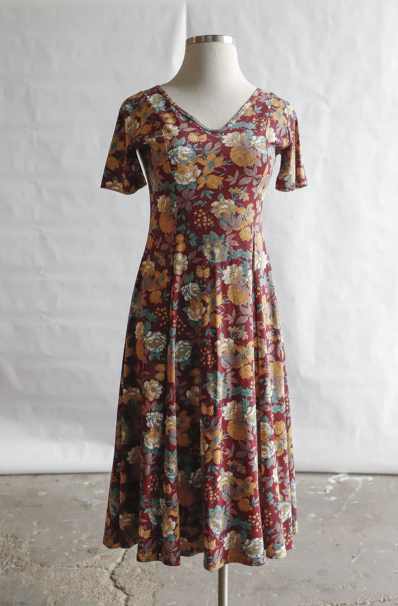 1990's Maroon Floral Print Maxi Dress