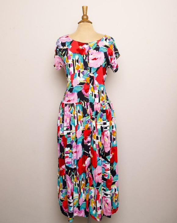 1990's Bila watercolor floral button down rayon dress with pockets