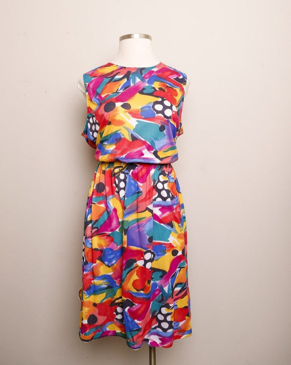 1990's Sleeveless Multicolor brush stroke floral & Polka dot printed plus size A-line dress