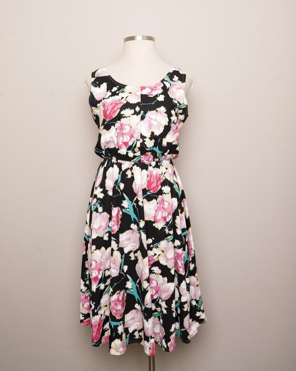 1980's Black sleeveless dress with pink & white watercolor flowers