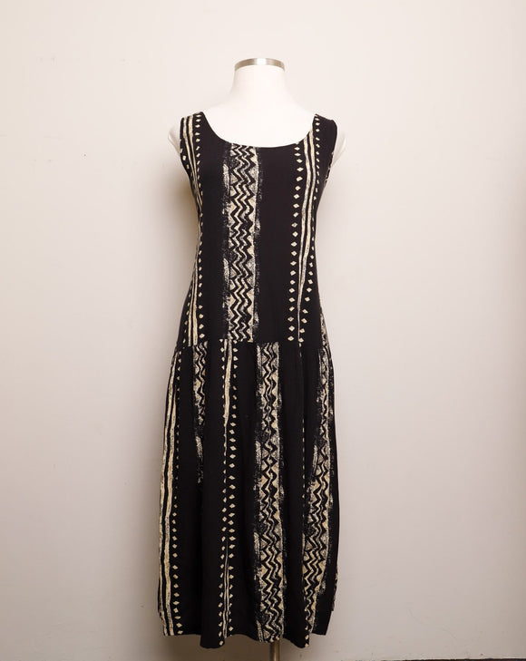 1990's Black & ivory tribal printed drop waist Plus Size rayon jumper dress