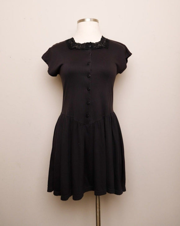 1990's Black Drop waist mini dress
