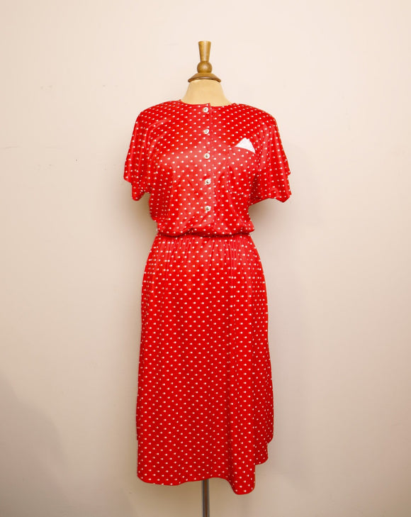 Classic 1980's does 1950's  Red and White polka dot dress with pockets