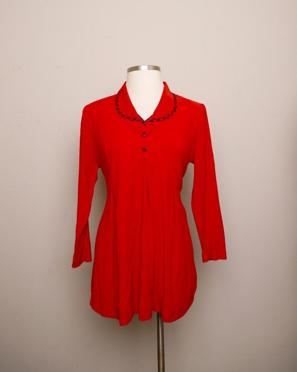 1990's Red Long sleeve Maternity tunic top