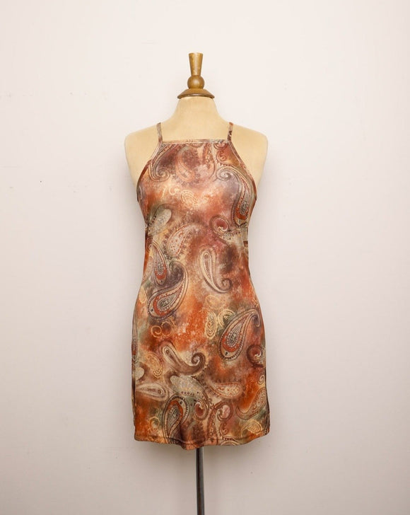 Y2K Brown & Orange high neck Mini dress with a paisley Ombre print