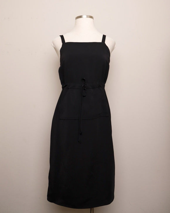 Y2K Black Sleeveless Jumper Midi Dress with drawstring waist, straight neckline and apron style pockets on the front
