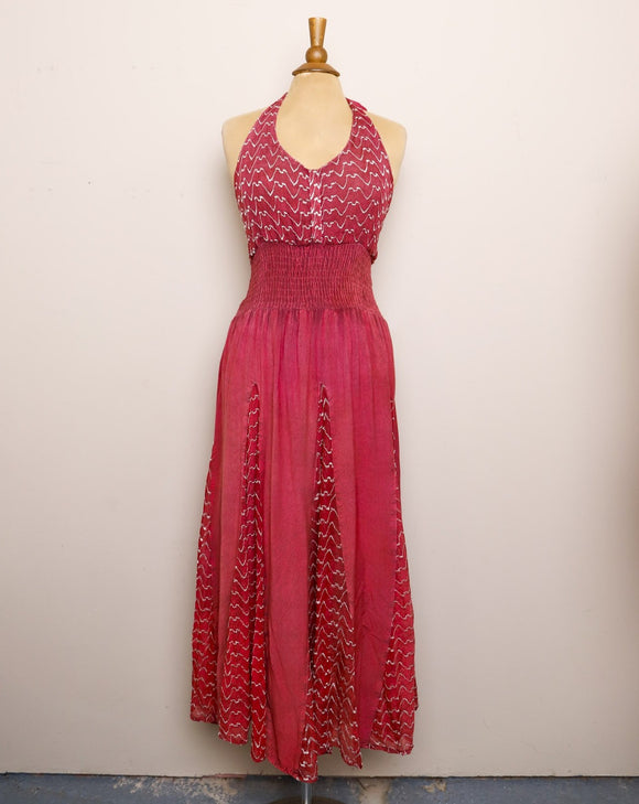 1990's Magenta Halter boho maxi dress with a sheer embroidered patchwork panel skirt and smock back & waistband