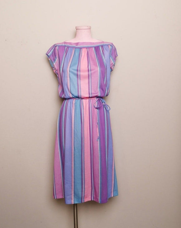 1970's Pastel Pink, Violet & Teal striped dress with boat neckline