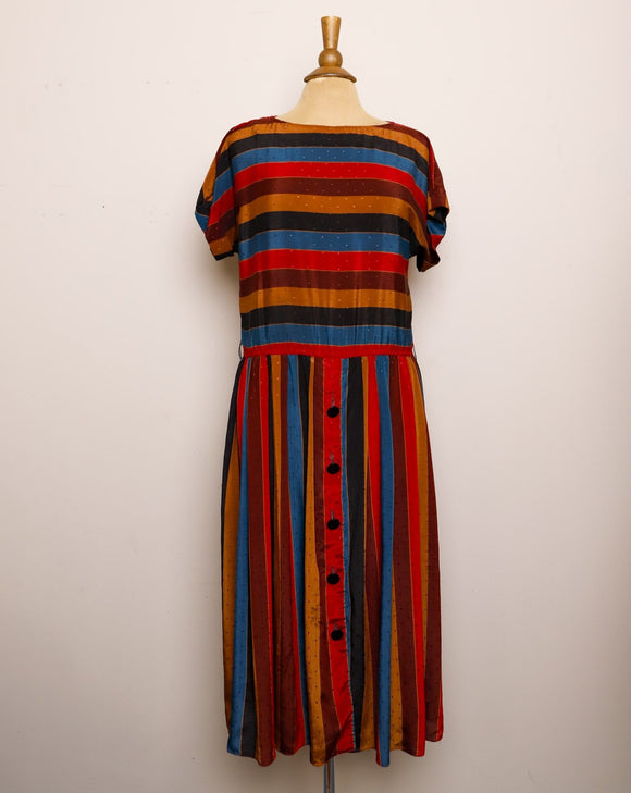 1970's Brown, Magenta, Turqouise and black striped light polyester dress