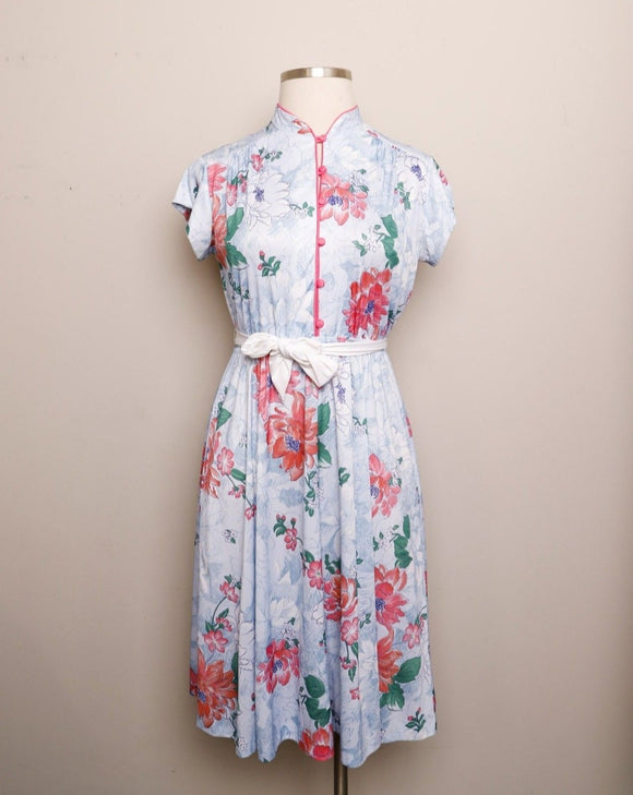 1970's Celeste dress with pink flowers and a mandarin collar