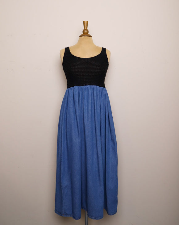 1990's Sleeveless Black top denim maxi dress