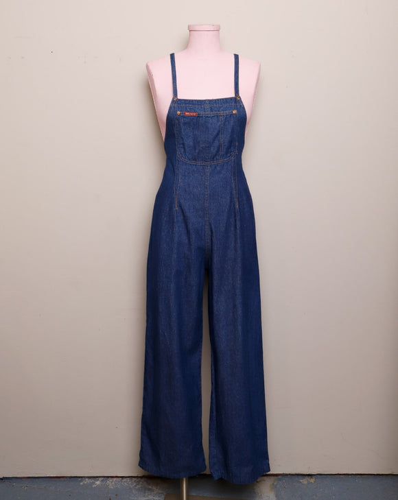 1980-1990's Denim Jumpsuit with adjustable button straps with a front pocket