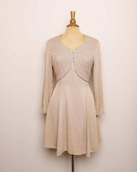 1990's Tan & brown pinstriped long sleeve mini dress with faux button vest built in on dress
