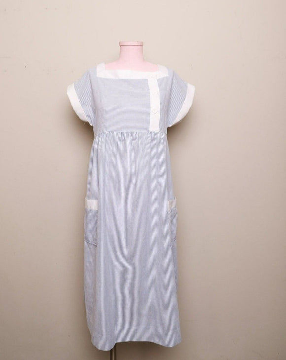 1970-1980's Blue & White pinstriped seersucker house dress with pockets