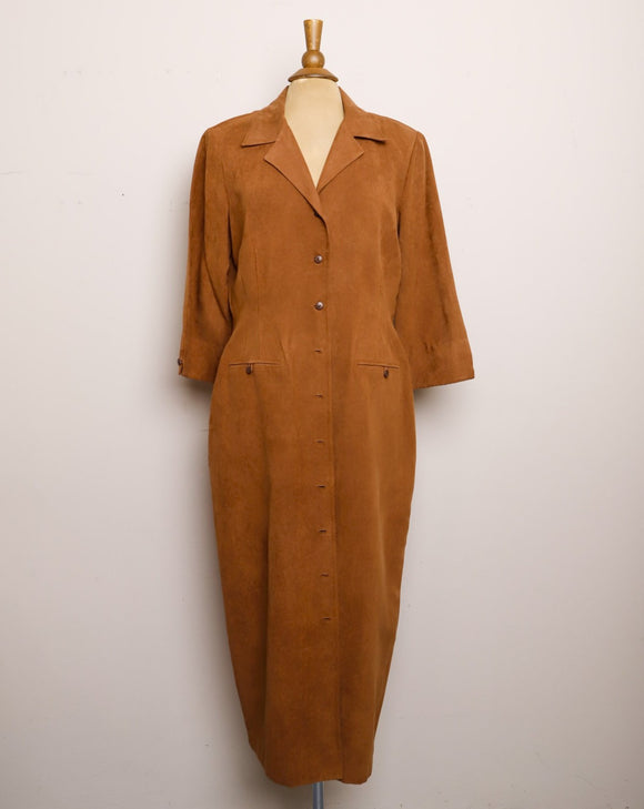 Amazing Brown faux Suede Dress/Duster jacket