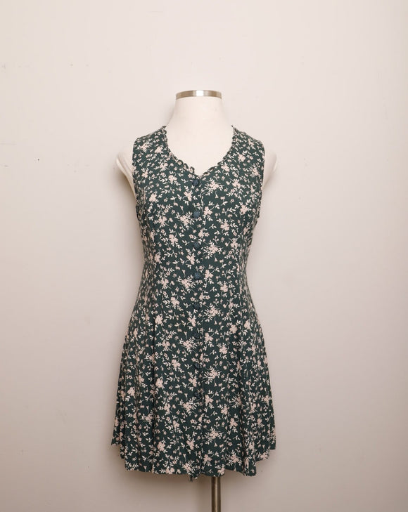 1990's Sleeveless Forest Green floral rayon mini dress with a laced up back corset and scallop cut out trim on neckline