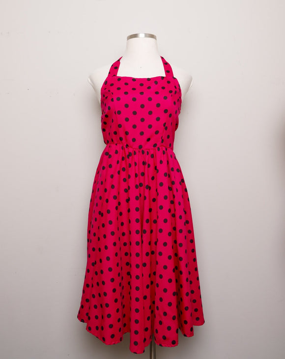 Repro does 1950's Magenta & black polka dot halter dress