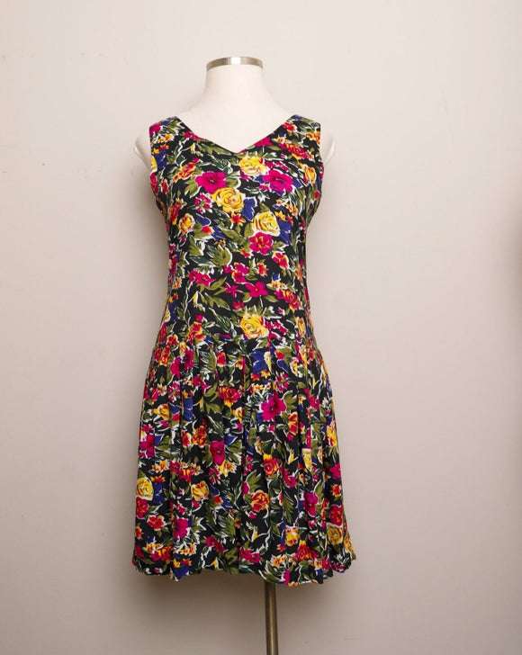 1990's Black sleeveless drop waist dress with yellow, navy and fuchsia florals
