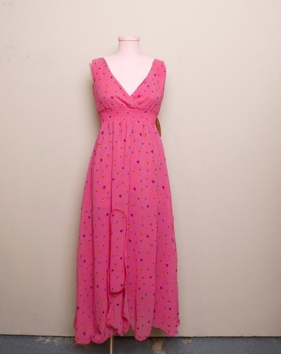 Y2K Hot Pink floral sleeveless high low maxi dress