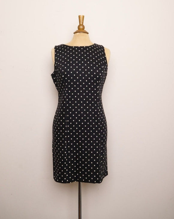 1990's Black polka dot sleeveless sheath dress