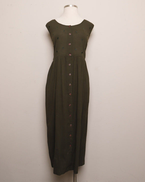 1990's Forest Green Plus size button down sleeveless maxi dress with diamond shaped embroidery.