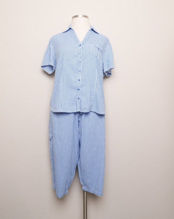 Blue & White Gingham Plus size 2pc Capri set