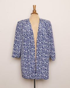 1980's Blue & White abstract light blazer