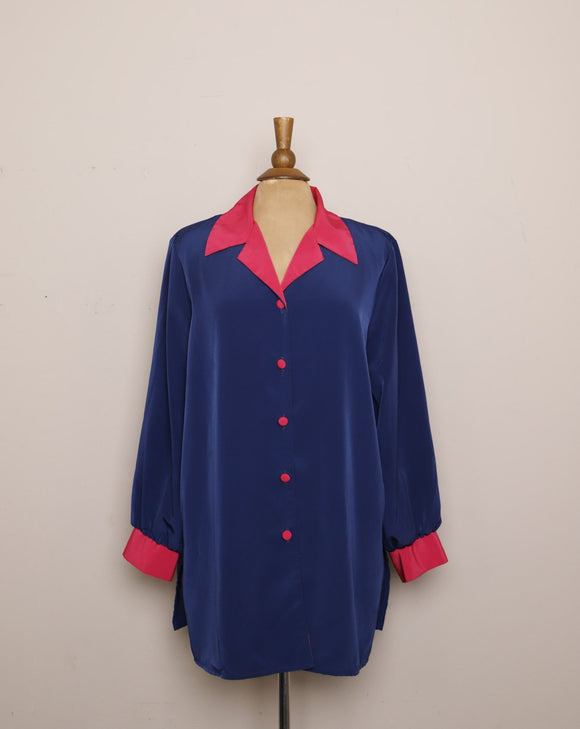 1990's Navy Blue and Fuchsia plus size long sleeve color block shirt