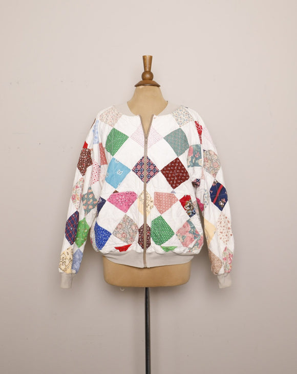 1980/1990's White quilted patchwork bomber jacket