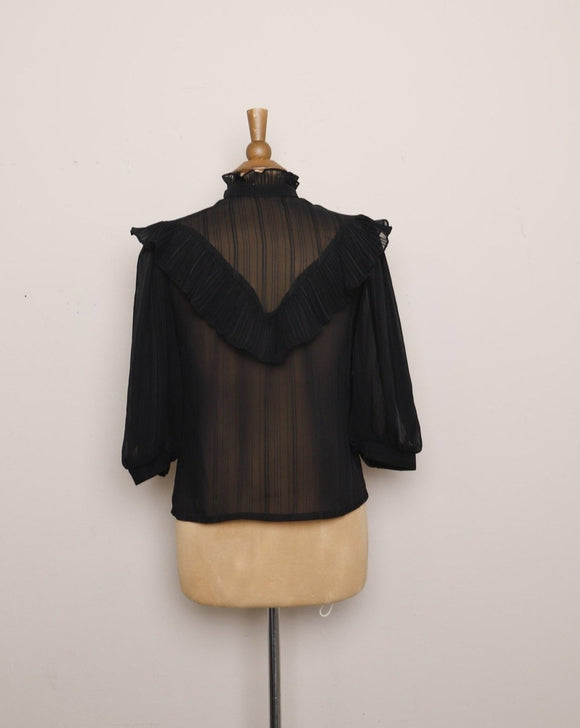 1970's Sheer striped Black Victorian style blouse, with a high ruffled collar, ruffled bib and puff sleeves.