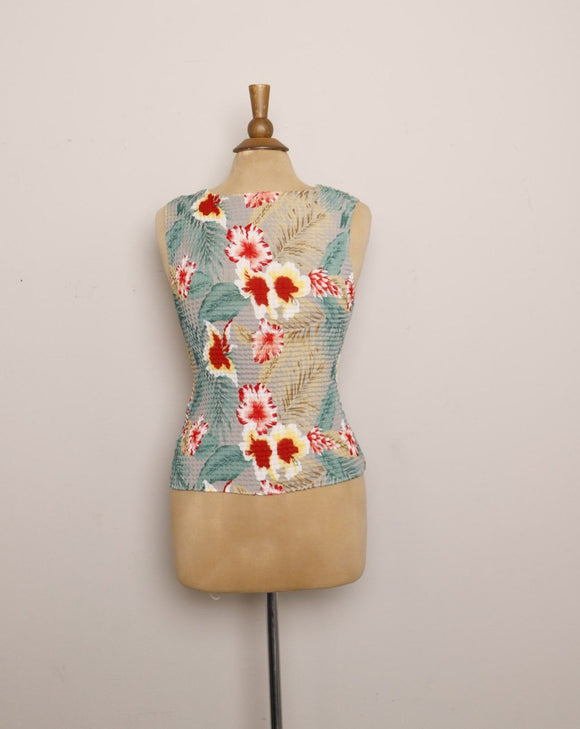 Y2K Popcorn sleeveless tropical floral top
