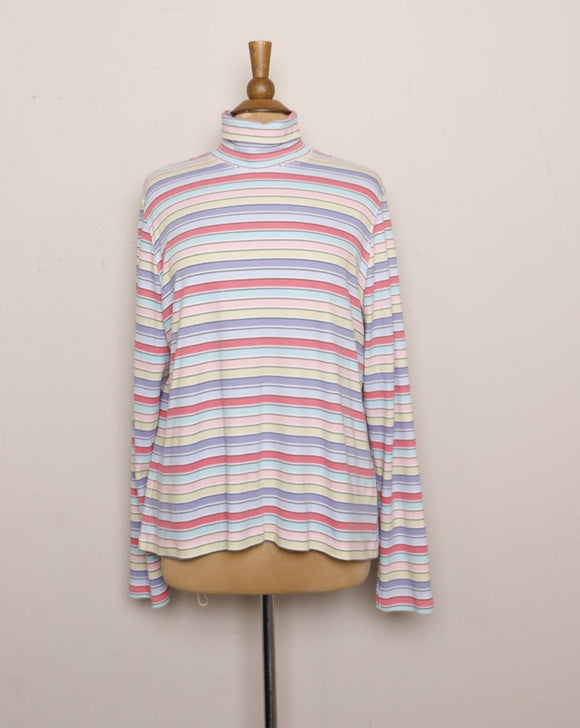 1990's/Y2K Candy Striped plus size long sleeve turtleneck
