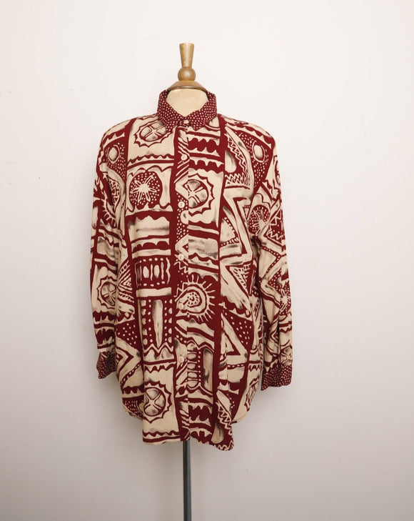 1990's Ivory & Burgundy abstract long sleeve shirt