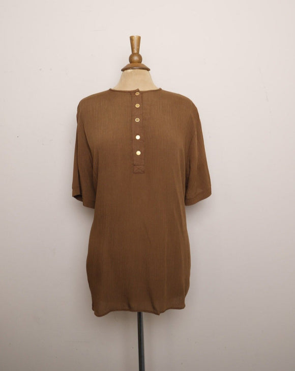 1990's Brown Oversize shirt with gold buttons