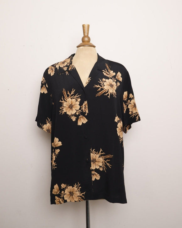1990's Black rayon button up with light brown florals