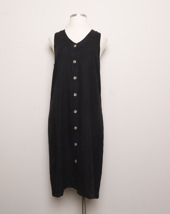1990's Black Linen jumper dress