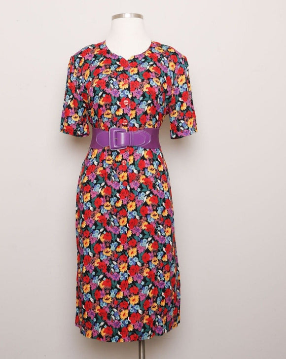 1990's red, purple and yellow floral shift midi dress