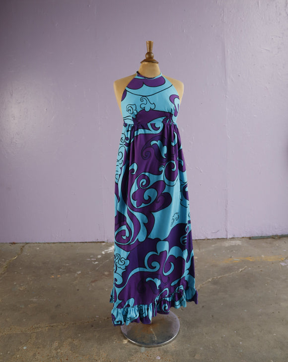 1970's Hawaiian Blue & Purple floral halter dress.