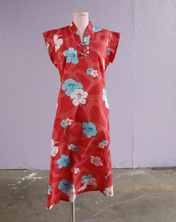 1970's Red floral Caftan Dress